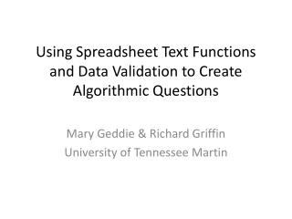 Using Spreadsheet Text Functions and Data Validation to Create Algorithmic  Questions