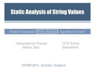 Static Analysis of String Values