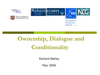 Ownership, Dialogue and Conditionality