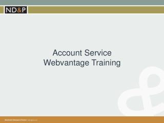 Account Service  Webvantage  Training