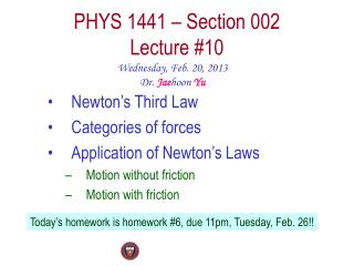 PHYS  1441  – Section  002 Lecture  #10