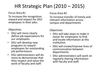 HR Strategic  Plan (2010 – 2015)