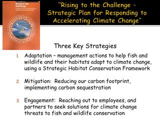�Rising to the Challenge � Strategic Plan for Responding to Accelerating Climate Change�