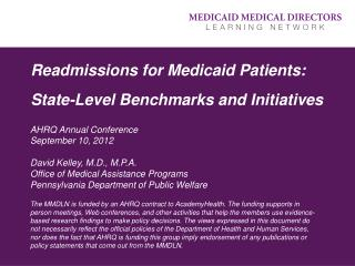 Readmissions for Medicaid Patients: State-Level Benchmarks and Initiatives