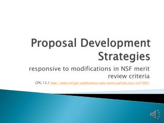Proposal Development Strategies