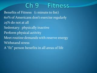 Ch 9     Fitness
