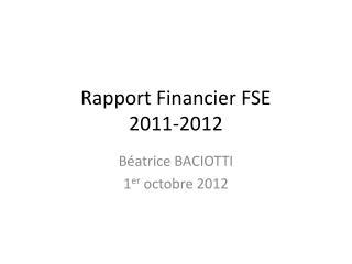 Rapport Financier FSE 2011-2012