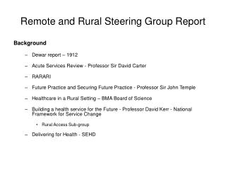 Remote and Rural Steering Group Report