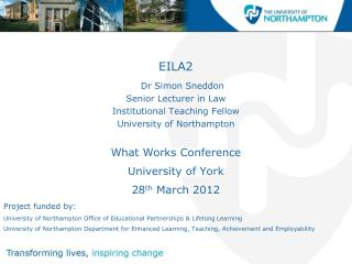 EILA2 Dr Simon Sneddon Senior  Lecturer in  Law Institutional  Teaching  Fellow