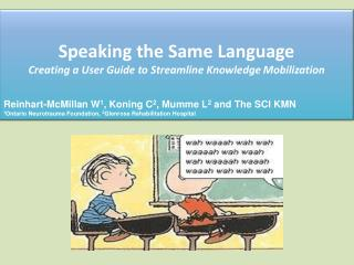 Speaking the Same Language  Creating  a User Guide to Streamline Knowledge  Mobilization