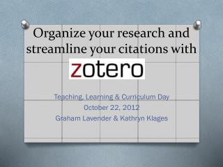 Organize your research and streamline your citations with