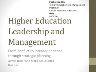 Higher Education Leadership and Management