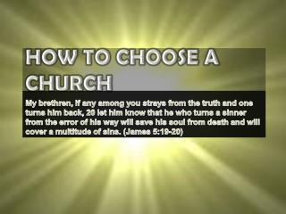 How To Choose A  CHurch