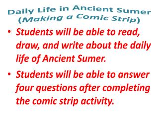 Daily Life in Ancient Sumer ( Making a Comic Strip )