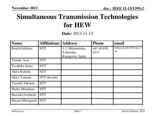 Simultaneous Transmission Technologies for  HEW