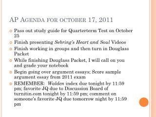 AP Agenda for  october  17, 2011