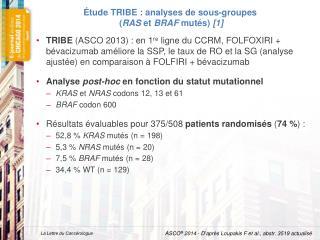 Étude TRIBE : analyses de sous-groupes  ( RAS  et  BRAF  mutés)  [1]