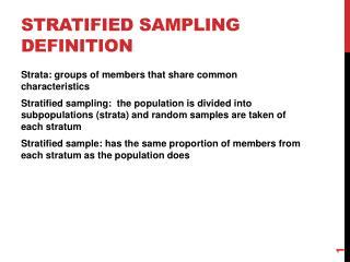 Stratified sampling Definition