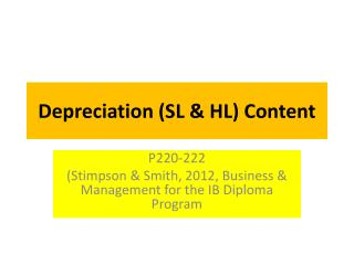 Depreciation (SL & HL) Content