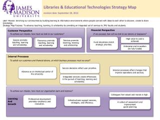 Libraries & Educational Technologies Strategy Map revision date: September 20, 2012