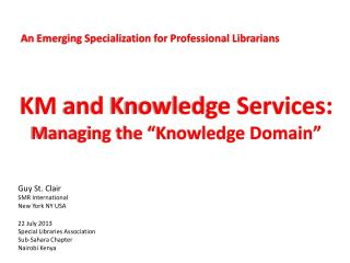 An Emerging Specialization for Professional Librarians