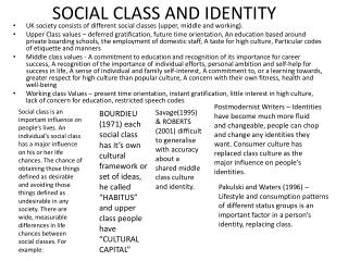 SOCIAL CLASS AND IDENTITY