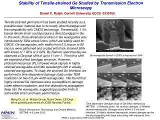 Stability of Tensile-strained  Ge  Studied by Transmission Electron Microscopy
