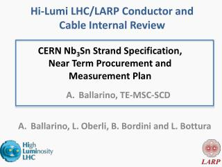 CERN Nb 3 Sn Strand Specification, Near Term  P rocurement and  Measurement Plan
