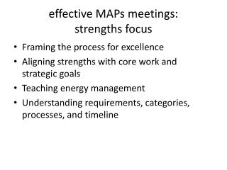 e ffective  MAPs  meetings:  strengths  f ocus