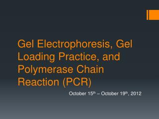 Gel Electrophoresis, Gel Loading Practice, and Polymerase Chain Reaction (PCR)