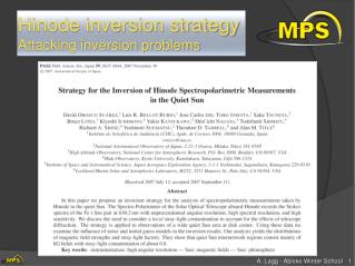 Hinode inversion strategy Attacking inversion problems