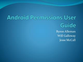 Android Permissions User Guide