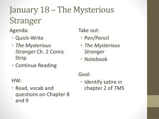 January 18 – The Mysterious Stranger