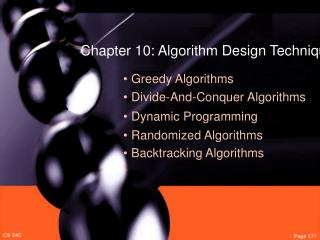Chapter 10: Algorithm Design Techniques