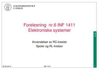 Forelesning  nr.6 INF 1411  Elektroniske systemer