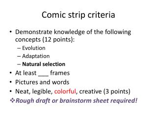 Comic strip criteria