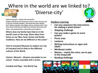 Where in the world are we linked to? 'Diverse-city'