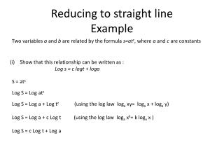 Reducing to straight line Example