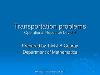 Transportation problems Operational Research Level 4