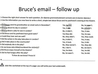 Bruce�s  email �  follow  up