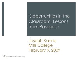 Creating Civic  Opportunities in the Classroom: Lessons from Research