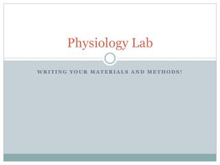 Physiology Lab