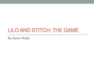 Lilo and stitch: the game
