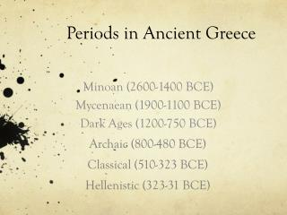 Periods in Ancient Greece