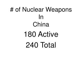 # of Nuclear Weapons  In  China