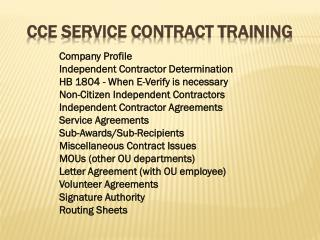 CCE SERVICE CONTRACT TRAINING