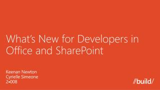 What�s New for Developers in Office and SharePoint