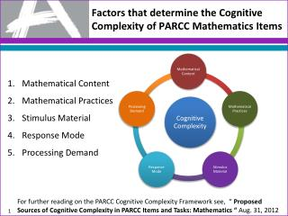 Factors that determine the Cognitive Complexity of PARCC Mathematics Items