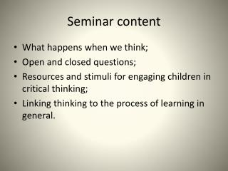 Seminar content