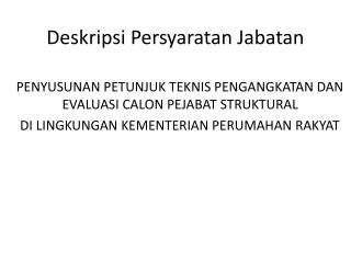 Deskripsi Persyaratan Jabatan